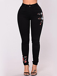 Women's Mid Rise strenchy Skinny Jeans Pants,Street chic Embroidery Cotton Blend Spring, Fall, Winter, Summer