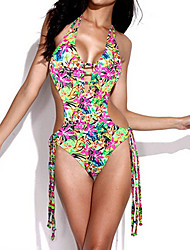 Womens Vintage Floral Strappy One Piece Swimsuit