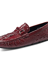 cheap -Men's Leather Shoes Cowhide Spring / Summer Loafers & Slip-Ons Black / Burgundy / Party & Evening