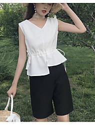 Maglietta Pantalone Completi abbigliamento Da donna Quotidiano Contemporaneo Estate,Tinta unita A V Senza maniche