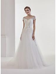 uma linha de jóias com pescoço tribunal trem renda vestido de casamento de tule com appliques rendas por md