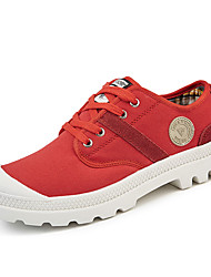 cheap -Women's Shoes PU Spring Fall Comfort Light Soles Athletic Shoes Walking Shoes Flat Heel Round Toe Lace-up for Athletic Army Green Red
