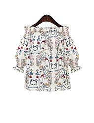 Damen Blumen Druck Einfach Lässig/Alltäglich T-shirt,Schulterfrei 3/4 Ärmel Baumwolle