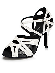 cheap -Women's Latin Synthetic Microfiber PU Modern Style Classical Fashion Indoor Buckle High Heel Black-white Customizable
