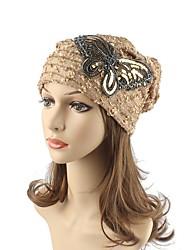 Women's Cotton Beanie Floppy Hat Headwear Cute Casual Chic & Modern Daily Knitwear Fall Winter Butterfly Sequins Khaki/Black/White