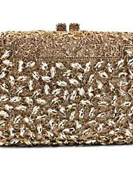 baratos -Mulheres Bolsas Metal Bolsa de Festa Pedrarias / Corrente / Metálico Rosa / Roxo / Roxo Claro / Rhinestone Crystal Evening Bags / Rhinestone Crystal Evening Bags