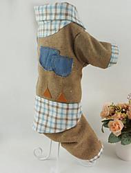 economico -Cane Felpe con cappuccio Tuta Abbigliamento per cani Traspirante Casual A quadri Caffè Rosso Costume Per animali domestici
