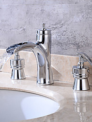 cheap -Art Deco/Retro Widespread Brass Valve Two Handles Four Holes Chrome , Bathroom Sink Faucet
