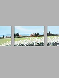 Недорогие -Ручная роспись Абстракция Горизонтальная, Абстракция холст Hang-роспись маслом Украшение дома 3 панели