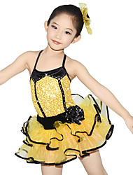 MiDee Kids' Dancewear Dresses Children's Performance Polyester Organza Lycra Tiers Crystals/Rhinestones Sleeveless Natural