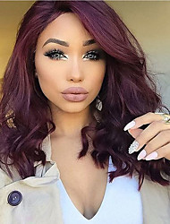 Side Part Dark Wine Dark Roots Ombre Body Wave Human Hair Glueless Full Lace Indian Virgin Hair Wigs With Baby Hair For Black Women Cheap On Sale