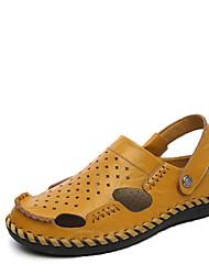 Masculino Sandálias Solados com Luzes Pele Verão Casual Caminhada Solados com Luzes Tachas Rasteiro Azul Escuro Marron Khaki 5 a 7 cm