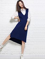 Women's Casual/Daily Simple Long Vest,Solid V Neck Sleeveless Nylon Spring Medium Micro-elastic