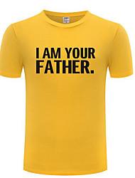 abordables -Hombre Algodón Camiseta, Escote Redondo Letra