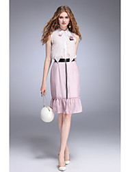 TYZEE Women's Party Holiday Going out Casual/Daily Simple Cute Spring Summer Blouse Skirt SuitsSolid Striped Color Block Stand SleevelessBow