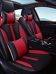 Car Seat Cushion Car Seat Cover Family Car Leather Seat Cover Four General--Black And Red