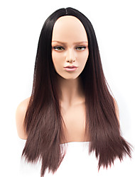 Fashion Long Brown Ombre Color Straight Wig African American Heat Resistant Synthetic Wigs