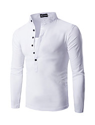 Men's Daily Street chic T-shirt,Solid Round Neck Long Sleeves Polyester