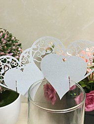 50pcs  Double Love Heart Laser Cutting Wine Glass Card Place CardLaser Cut Paper Cup CardWine Glass Card wedding Decoration Supplies.