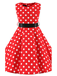 Girl's Polka Dot Dress,Cotton All Seasons Sleeveless Dot Red