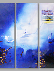 IARTS® Hand Painted Abstract Oil Painting Blue Fog Picture Set of 3 with Stretched Frame Handmade Oil Painting For Home Decoration Ready To Hang