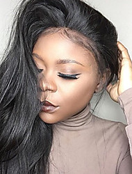 cheap -Virgin Human Hair Lace Front Wig Brazilian Hair Straight 130% Density 100% Hand Tied For Black Women Natural Hairline Nature Black Short