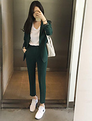 Women's Work Simple Spring Shirt Pant Suits,Solid Peter Pan Collar Long Sleeve