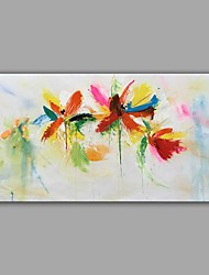 cheap -Hand-Painted Knife Oil Painting Flower Dragonfly Wall Art With Stretcher Frame Ready To Hang