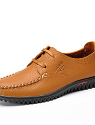 Men's Oxfords Light Soles Comfort Spring Fall Cowhide Leather Wedding Casual Party & Evening Office & Career Braided Strap Lace-up Flat