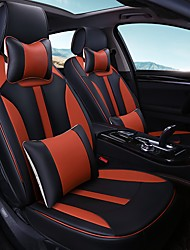 Car Seat Cushion Car Seat Cover Family Car Leather Seat Cover Four General--Black Orange