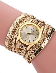 Недорогие -Жен. Модные часы Часы-браслет обернуть часы Кварцевый Кожа Черный / Белый / Синий Цветной Аналоговый Дамы На каждый день - Коричневый Красный Розовый