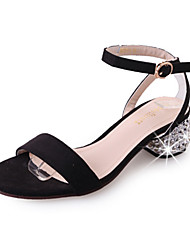 Women's Sandals Comfort Summer Cashmere Walking Shoes Casual/Daily Buckle Block Heel Black Silver Blushing Pink 2in-2 3/4in