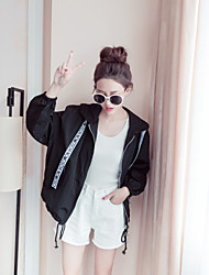 Women's Casual Casual Spring Jacket,Solid Hooded Long Sleeve Regular Cotton Oversized