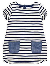 cheap -Girl's Striped Dress, Cotton Summer Sleeveless Stripes White