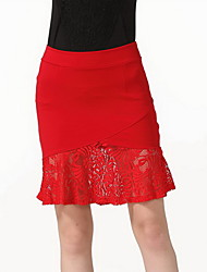 cheap -Women's Daily Going out Club Holiday Above Knee Skirts,Casual Sexy Bodycon Polyester Solid Spring Summer Fall