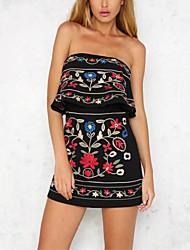 Feminino Moda de Rua Cintura Média Casual Informal Macacão,Solto Liso Bordado Estampado Floral Verão