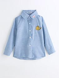 baratos -Para Meninos Camisa Riscas Primavera Outono Algodão Manga Longa Azul