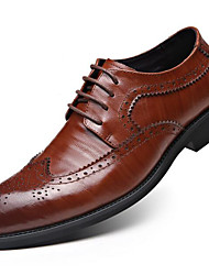 cheap -Men's Shoes Leather Fall Winter Formal Shoes Oxfords For Dress Party & Evening Black Light Brown