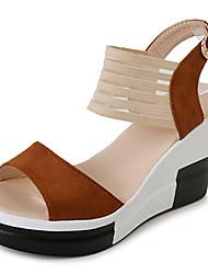 preiswerte -Damen Sandalen Pumps Wildleder Stoff Sommer Normal Kleid Walking Pumps Schnalle Keilabsatz Schwarz Dunkelbraun Khaki 12 cm & mehr