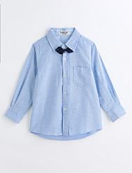 abordables -Camisa Chico Un Color Estampado Animal Algodón Mangas largas Primavera Otoño Azul claro