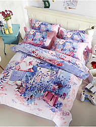 cheap -Painting 4 Piece Cotton Machine Made Cotton 1pc Duvet Cover 2pcs Shams 1pc Flat Sheet