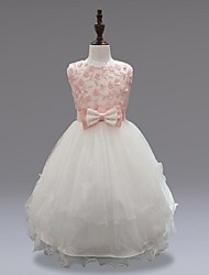 cheap -Ball Gown Knee Length Flower Girl Dress - Organza Sleeveless Jewel Neck with Applique Bow(s) Ruched Zipper by YDN