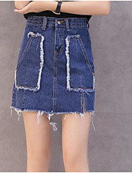 cheap -Women's Going out Mini Skirts,Street chic A Line Solid Summer