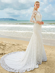 cheap -Mermaid / Trumpet Plunging Neckline Sweep / Brush Train All Over Lace Custom Wedding Dresses with Lace Ruched by LAN TING BRIDE®