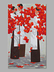 cheap -IARTS® Hand Painted Modern Abstract Swaying Pretty Flowers in the Vase on Canvas Stretched Frame Handmade Oil Painting For Home Decoration