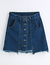 cheap -Women's Daily Going out Above Knee Skirts, Cute Casual Slim Others Solid Summer