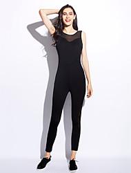 Недорогие -Для женщин Сплошной цвет Мода На каждый день Комбинезоны,Спорт Skinny Без рукавов Круглый вырез Все сезоны Полиэстер