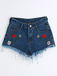 cheap -Women's Cute Slim Shorts Jeans Pants - Solid Colored Embroidery