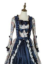 baratos -Vintage padrão Vestido Vitoriano Ocasiões Especiais Homens Mulheres Festa a Fantasia Cinzento Azul Tinta Azul Vintage Cosplay Tecido