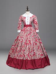 economico -Vintage Vittoriano Vestito con motivo Costume Per donna Vestito da Serata Elegante Rosso Vintage Cosplay Tessuto imbottito Manica a 3/4